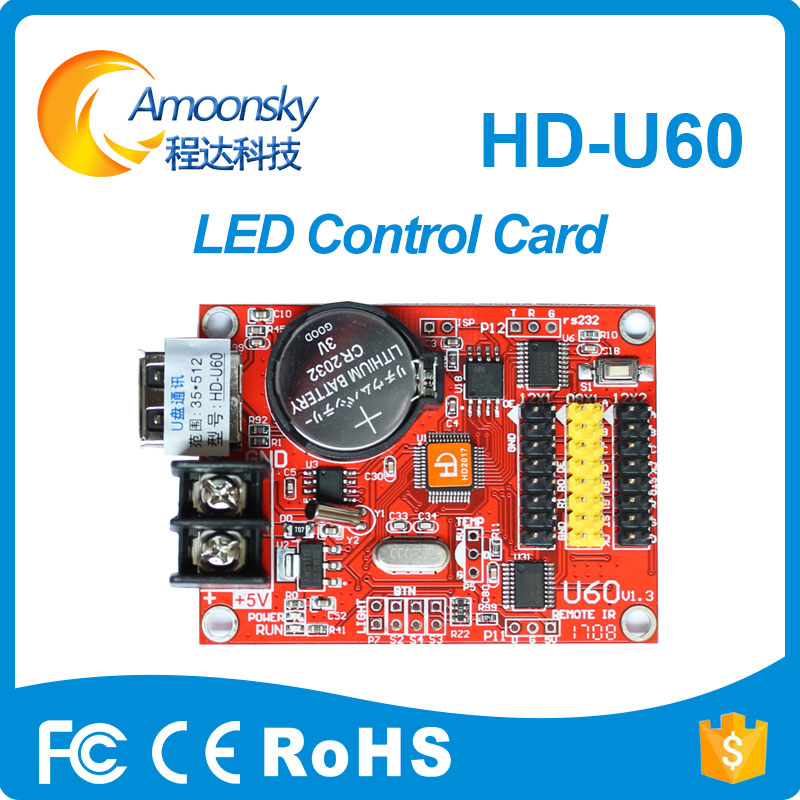 HD-U60 P10 Single Color And Dual Color Led Module Display Controller For Led Moving Signs With Usb U-disk Communication