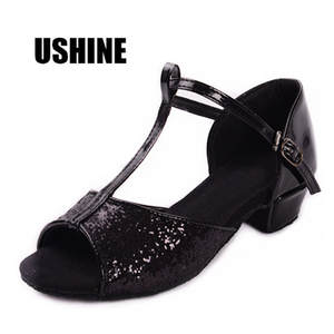PU Glitters Black Gold Silver Red Tango Salsa Latin Dance Shoes For Girls Woman Zapatos De Baile Latino Mujer 205 Free Shipping