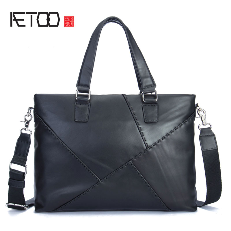 AETOO Leather men's cross-section first layer of leather men's handbag leisure business briefcase computer bag aetoo men s casual handbag cross section leather hand first layer of leather diagonal cross bag retro shoulder bag computer bag