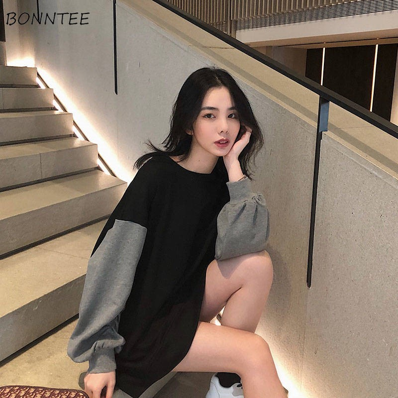 Hoodies Women Spring Autumn Winter Trendy Oversize Casual Patchwork Ulzzang Streetwear High Quality Simple Womens Clothing Chic