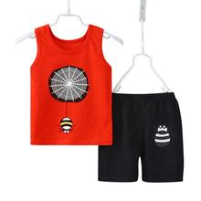 2pcs/set Children Summer Suits Tank Tops and Pants Cartoon Pattern Cotton Baby Clothes cartoon pattern check tank top