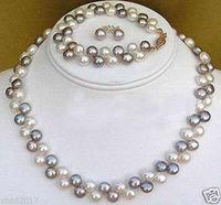 hot sell new Beautiful jewelry Black White pearl necklace bracelet earrings set