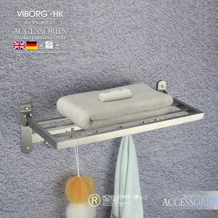VIBORG Deluxe SUS304 Stainless Steel Foldable Wall Mounted Bathroom Towel Rack Shelf Towel Holder Storage viborg deluxe sus304 stainless steel wall mounted bathroom towel rack shelf towel holder storage brushed