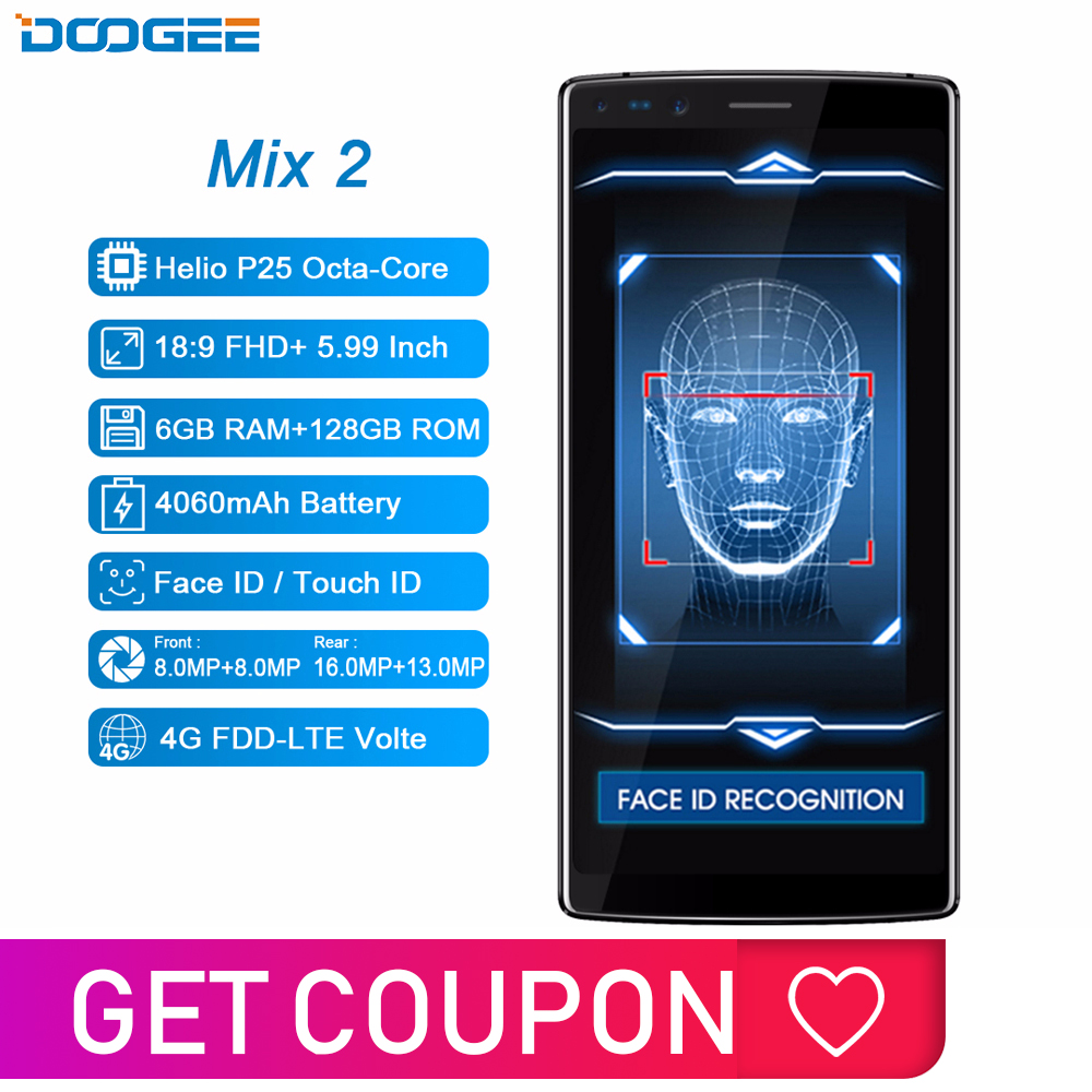 DOOGEE Mix 2 6GB de RAM 128GB ROM Android 7.1 4060mAh 5.99 ''FHD + Helio P25 Octa core de Smartphones Quad Câmera 16.0 + 13.0 + 8.0MP 8.0MP