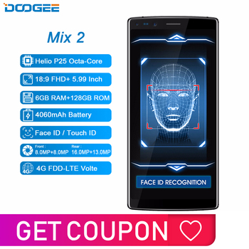 DOOGEE Mix 2 6GB RAM 128GB ROM Android 7.1 4060mAh 5.99'' FHD+ Helio P25 Octa Core Smartphone Quad Camera 16.0+13.0MP 8.0+8.0MP