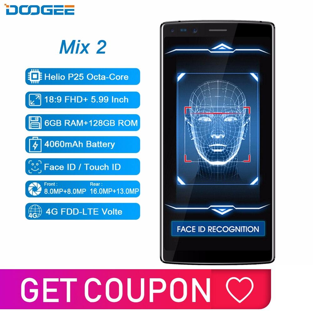 DOOGEE Mix 2 6GB RAM 128GB ROM Android 7.1 4060mAh 5.99 ''FHD + Helio P25 Octa Core Smartphone Quad caméra 16.0 + 13.0MP 8.0 + 8.0MP