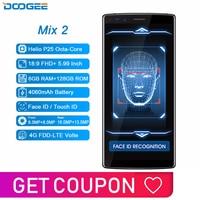 DOOGEE Mix 2 6GB RAM 128GB ROM Android 7.1 4060mAh 5.99'' FHD+ Helio P25 Octa Core Smartphone Quad Camera 16.0+13.0MP 8.0+8.0MP