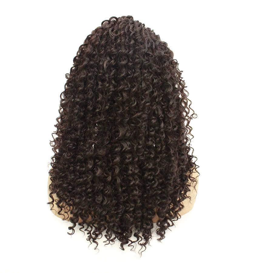 Lace Front Synthetische Pruiken Voor Vrouwen Lange Kinky Krullend Zachte Ombre Pruik Met Donkere Wortels Golvend Hittebestendige Vezel Haar extension