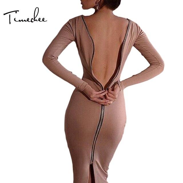 Elbise Kadınlar Vestidos 2017 Timechee Bahar Seksi Kulübü Geri Fermuar Tam Kollu Diz Boyu Uzun Bodycon Kılıf Elbiseler LYY0031
