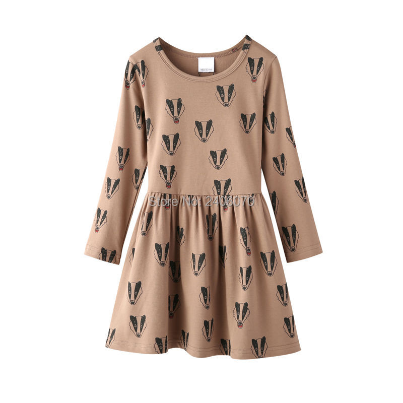 badger fox printed dress long sleeved offwhite Child Princess Costume ropa bobo choses new year Evening Winter girl clothing02