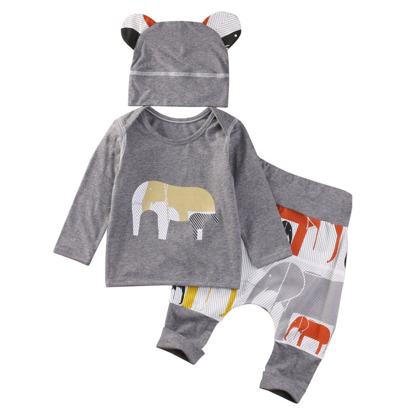 New Infant Boy Clothing Set Cotton Spandex Elephant Pattern Hat+Long Sleeve+ Long Pant Baby Boy Clothes 3 Pieces Set