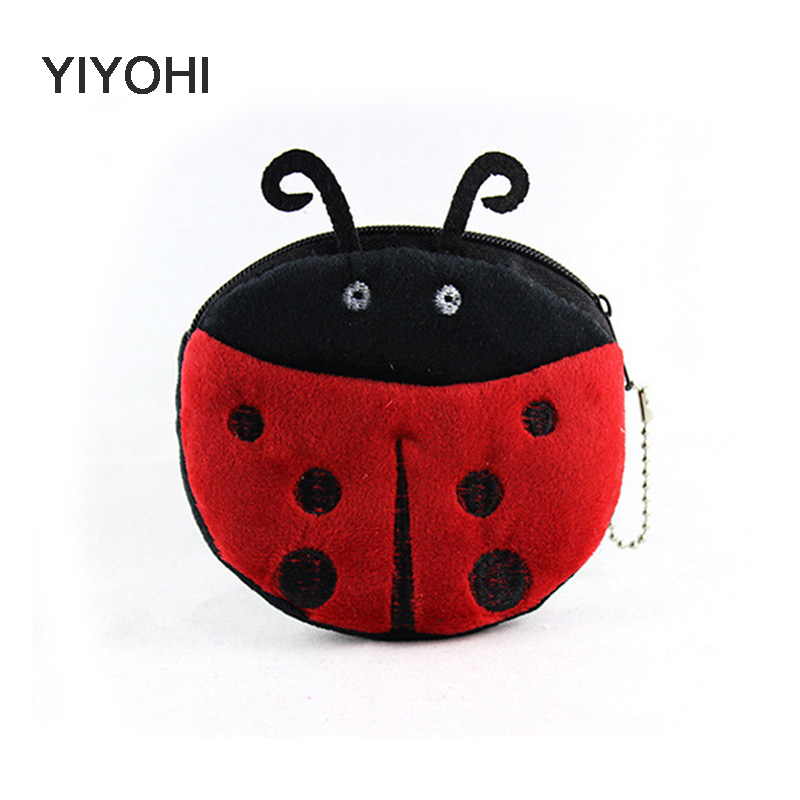 YIYOHI 2016 Hot Sale Kawaii Cartoon Beetles/Owl / BeesChildren Plush Coin Purse Zip Change Purse Wallet Kids Girl Women For Gift