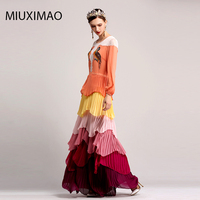 2017 High Quality Spring&Fall Newest Cute Style Maxi Dress Full Sleeve Pot Rose Embroidery Elegant Long Ringed Dress Women