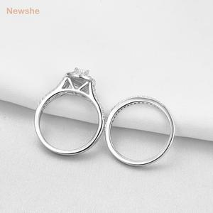 Image 3 - Newshe 2Pcs Wedding Ring Set Classic Jewelry Pear Shape 1.2 Carats AAA CZ 925 Sterling Silver Engagement Rings For Women 1R0004