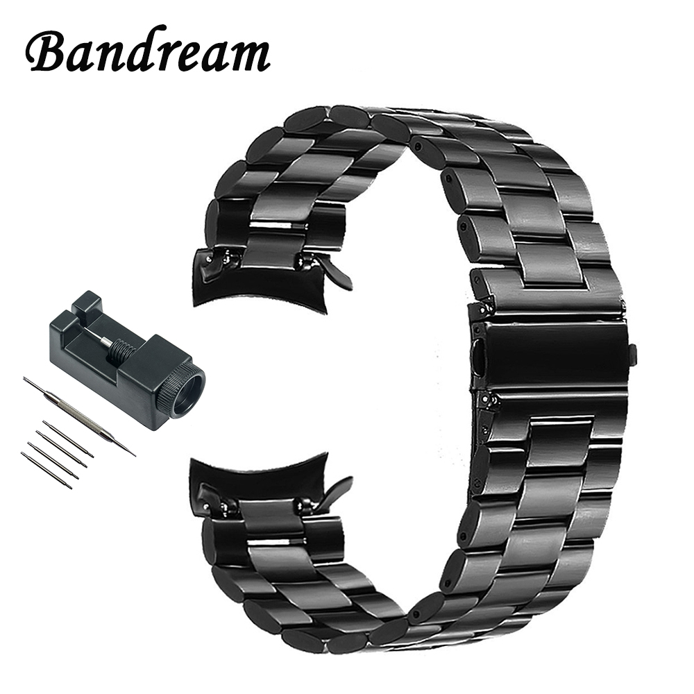 Curved End Stainless Steel Watchband +Tool for Samsung Gear S3 Classic Frontier Smart Watch Band Sport Strap Wrist Belt Bracelet crested genuine leather strap for samsung gear s3 watch band wrist bracelet leather watchband metal buck belt
