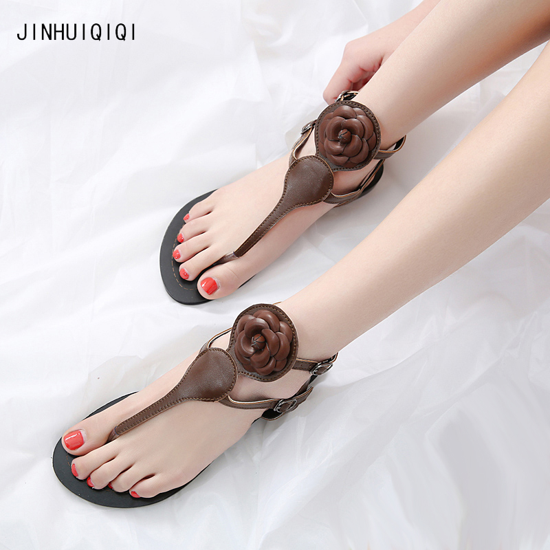 2018 Flip flops womens sandals flat Casual summer Flowers boho shoes buckle gladiator sandals Holiday women flip flops 35-41 england style women shoes roman sandals buckle summer flip flops gladiator flat with sandals plus size 35 43 xwz2029
