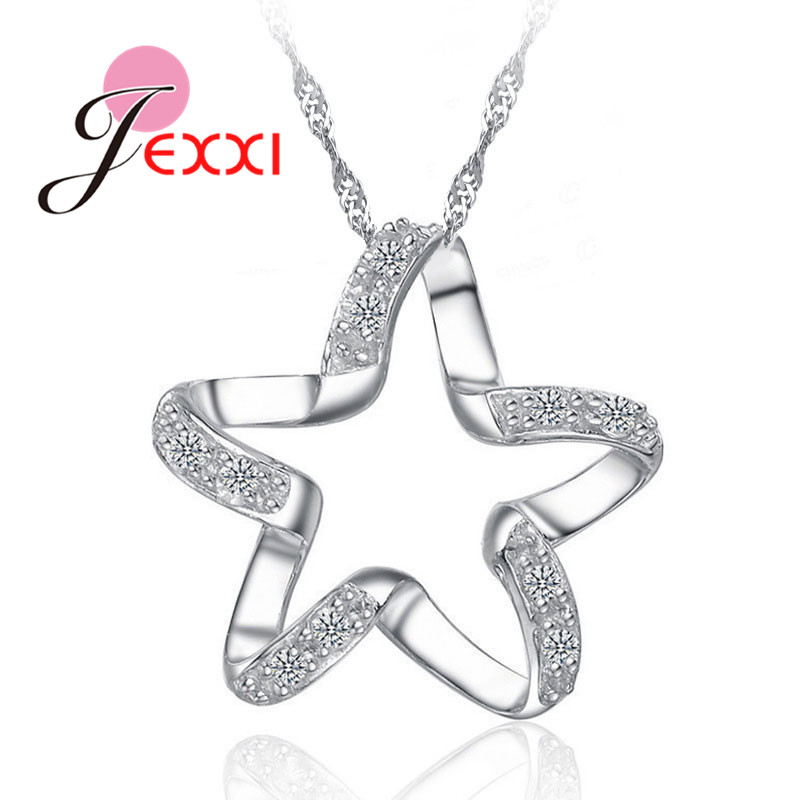 New New Arrival 925 Sterling Silver Chic Pendant Necklace Girls Wedding Accessories Women Funny Lucky Star Shape Jewelry
