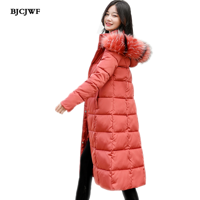 winter jacket women 2018 new X-Long Fur collar cotton   Parka   Plus Size M-4XL Fashion Women Hooded Female Overcoat kurtka zimowa