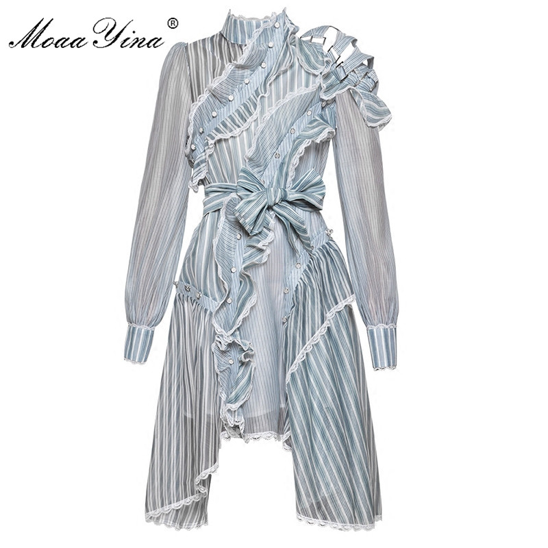 MoaaYina Designer Runway Dress Spring Women Long sleeve Off shoulder Stand collar stripe Asymmetrical Ruffles Lace Sashes Dress
