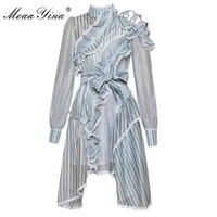 MoaaYina Designer Runway Dress Spring Women Long Sleeve Off Shoulder Stand Collar Stripe Asymmetrical Ruffles Lace