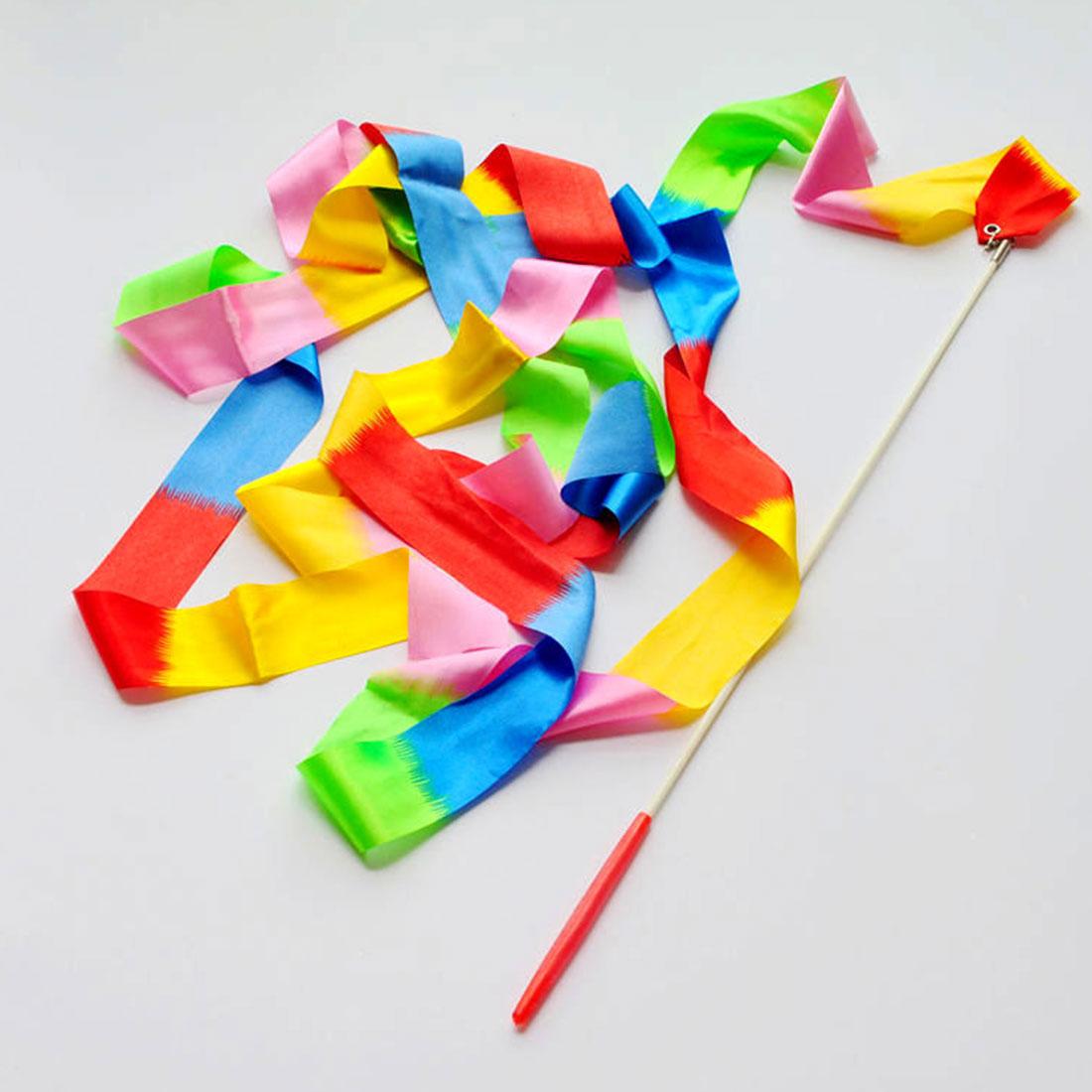 10pc 4M Art Gym Rhythmic Gymnastic Dance Ribbon Streamer Twirling Rod Stick Wand