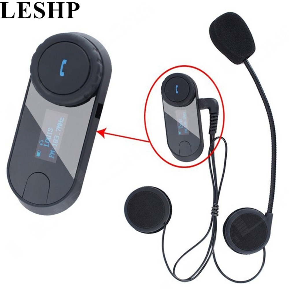 LESHP 3 Riders HiFi Speaker Moto Intercom Headphone LCD Screen+FM 1000M Bluetooth Wireless Interphone Motorcycle Helmet Intercom