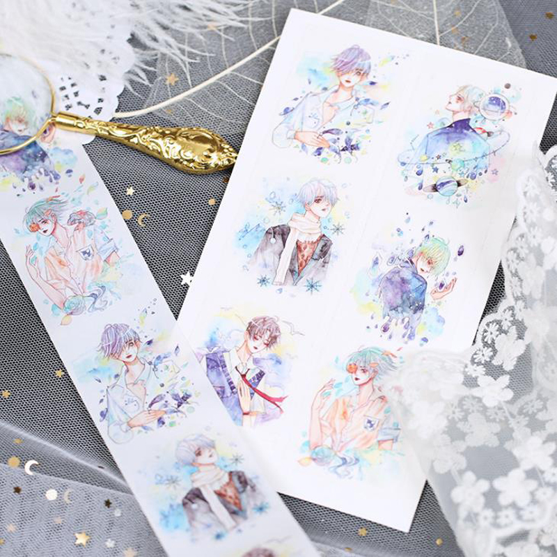 1 Pcs Hot Fetter Dreamlike character Handsome boy Decoration Washi Tape DIY Planner Diary Scrapbooking Masking Tape Escolar
