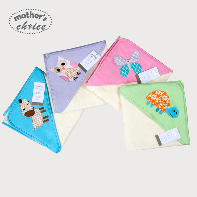 High quality Mothers choice 100% cotton Baby hooded towel soft with cartoon pattern Free shipping