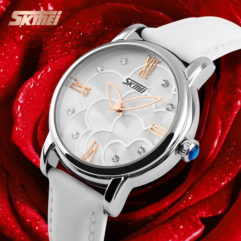 Relojes Mujer 2016 Quartz Watch Women Watches Relogio Feminino Women's Leather Dress Fashion Brand SKMEI Waterproof Wristwatches guanqin quartz watches fashion watch women dress relogio feminino waterproof tungsten steel gold bracelet watches relojes mujer