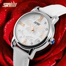 Relojes mujer 2016 vestido de cuero reloj de cuarzo relojes de las mujeres relogio feminino de las mujeres marca de moda skmei relojes a prueba de agua