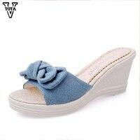 New 2017 Summer Slippers Women Platform Wedges Sandals Flip Flops Women High Heel Ed Shoes Open