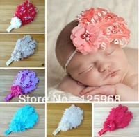 Free Shipping 12pcs Lot New Feather Flower Design Baby Hairbands Fashion Girls Elastic Headband Children Hair