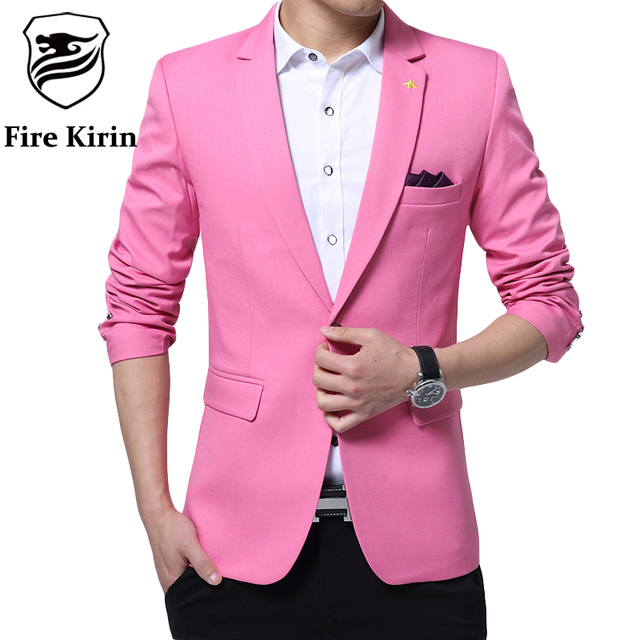 Aliexpress.com : Buy Fire Kirin Pink Blazer Men 2017 Korean ...