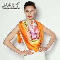 Новинка 2014 весна осень Брендовые женские 100% чистый Шелковый шарф большой площади цветочным принтом Европейская мода шелк тутового шелкопр