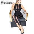 Sexy See Through Mesh Jumpsuits 2017 NEW Fashion Women Sleeveless Bodycon Bodysuits Striped Black Nightclub Wear Party Playsuits