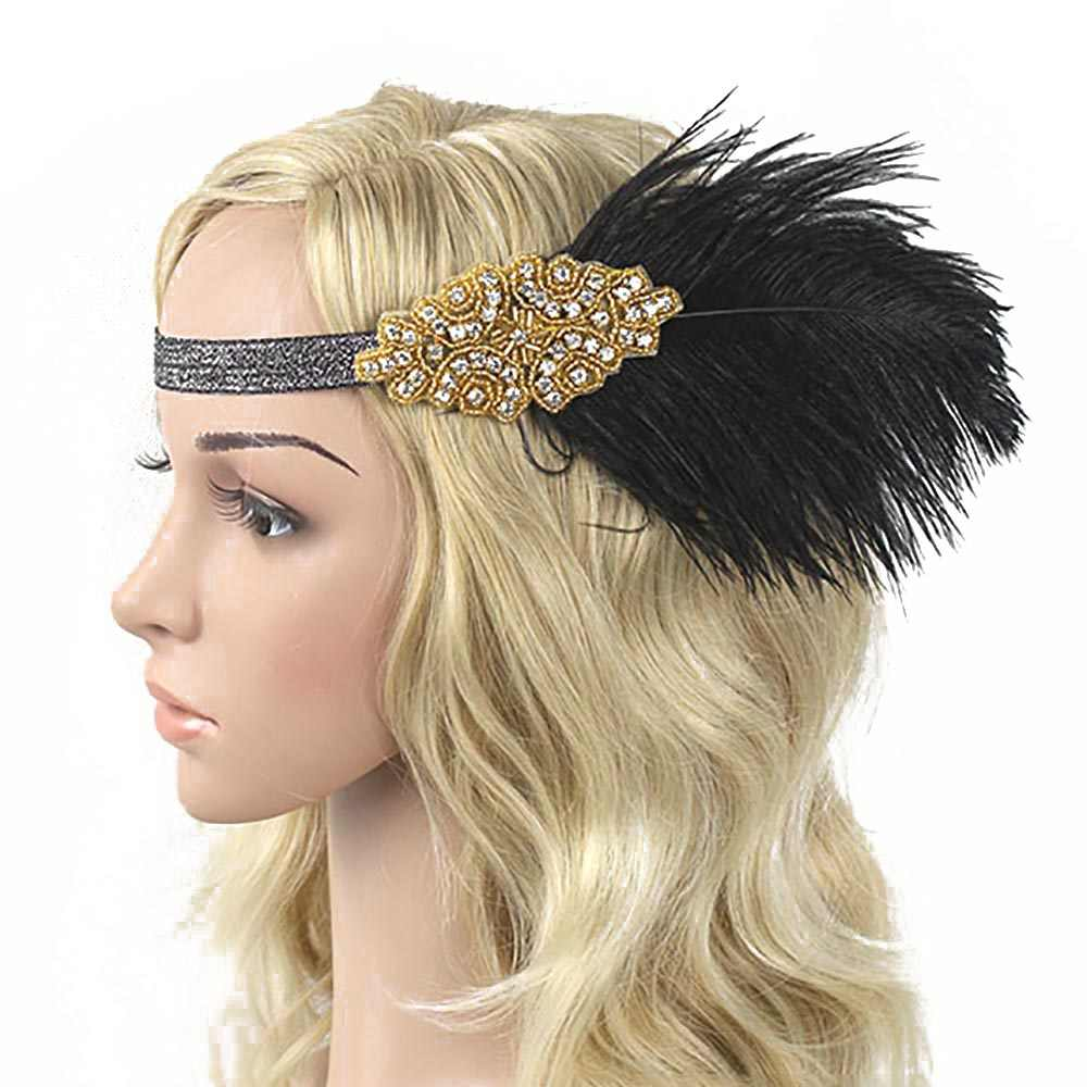 1920s Feather Headband Flapper Girl Costume Great Gatsby Flapper Headband Women S Vintage Roaring 20s Feather Headpiece