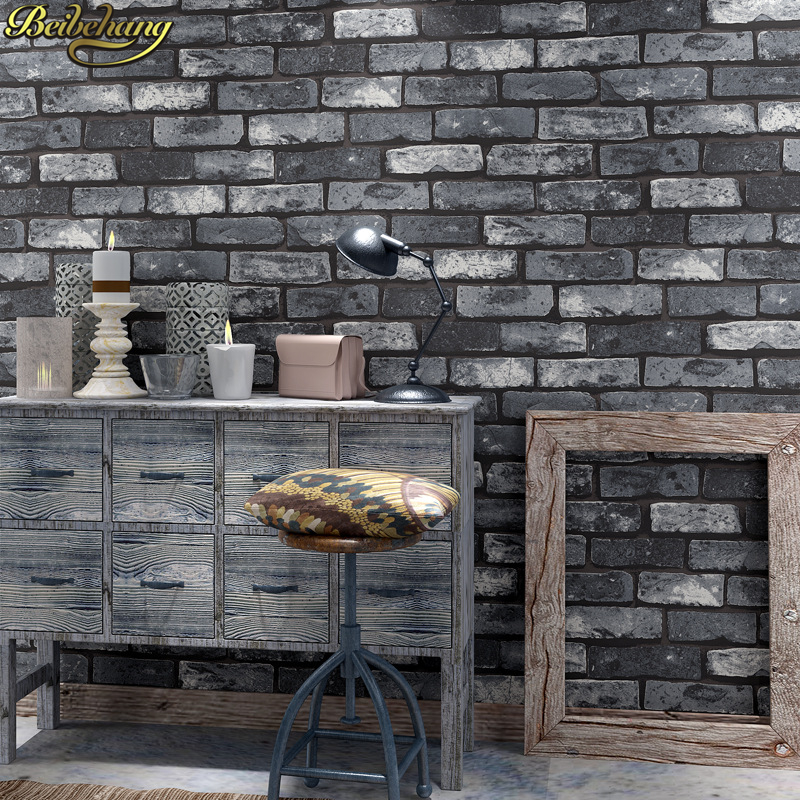 beibehang papel de parede para quarto brick wallpaper roll living room red Dark gray Stone Wall Paper for bedroom decoration beibehang rustic brick stone wallpaper for living room chinese brick pvc wallpaper roll papel de parede 3d roll home decoration