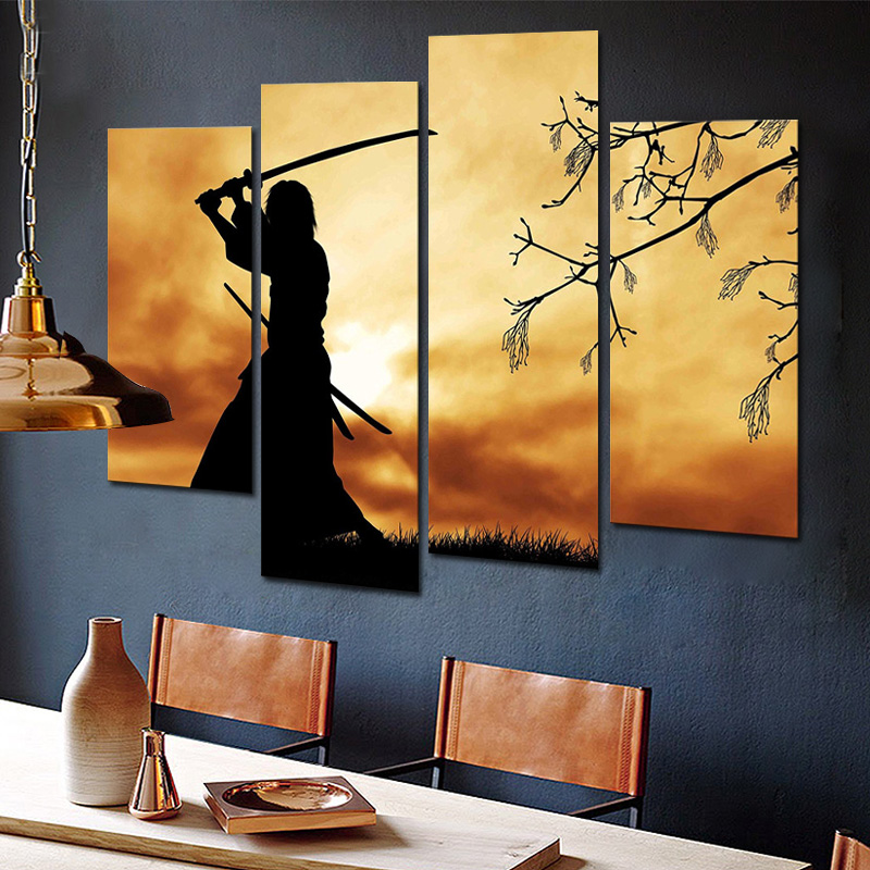 Figure Paintings Wall Art Bushido Spirit Illustration Japanese Samurai 4 Panel Picture Print on Canvas for Home Decoration