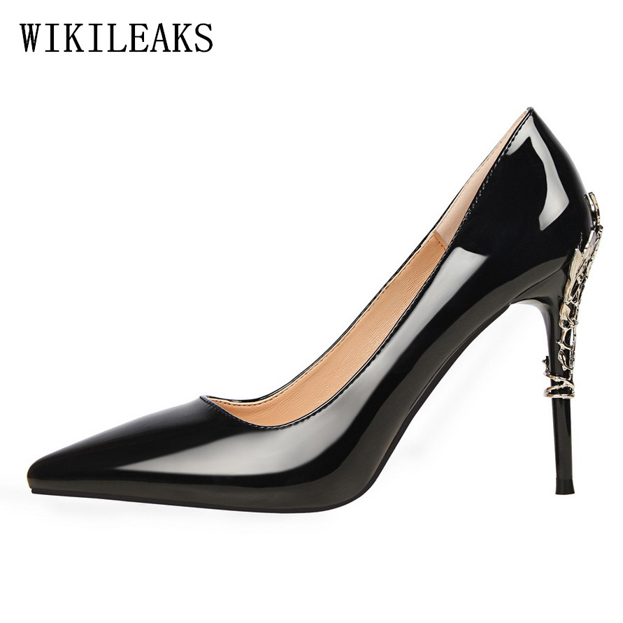 Women Shoes High Heel Pumps Sexy Metal Heels stiletto designer luxury brand bigtree shoes Nightclub Party Wedding Shoes Woman sexy shoes woman rivet high heels sandal stiletto heels women pumps party nightclub shoes patent leather womens shoes