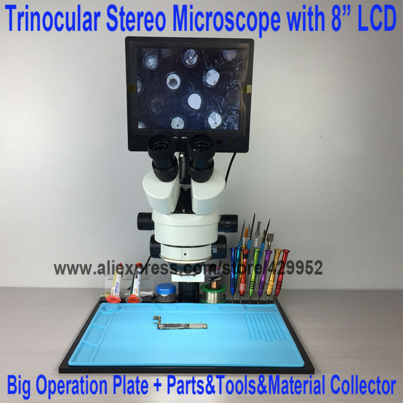 efix 7X~45X Trinocular Stereo Zoom Vertical Zoom Microscope for iPhone Fix Repair Tools Kits + 8 Inch LCD+ Big Operation Plate lucky zoom 3 5x 45x double boon stand stereo zoom trinocular microscope szm0 5x wd165mm free shipping