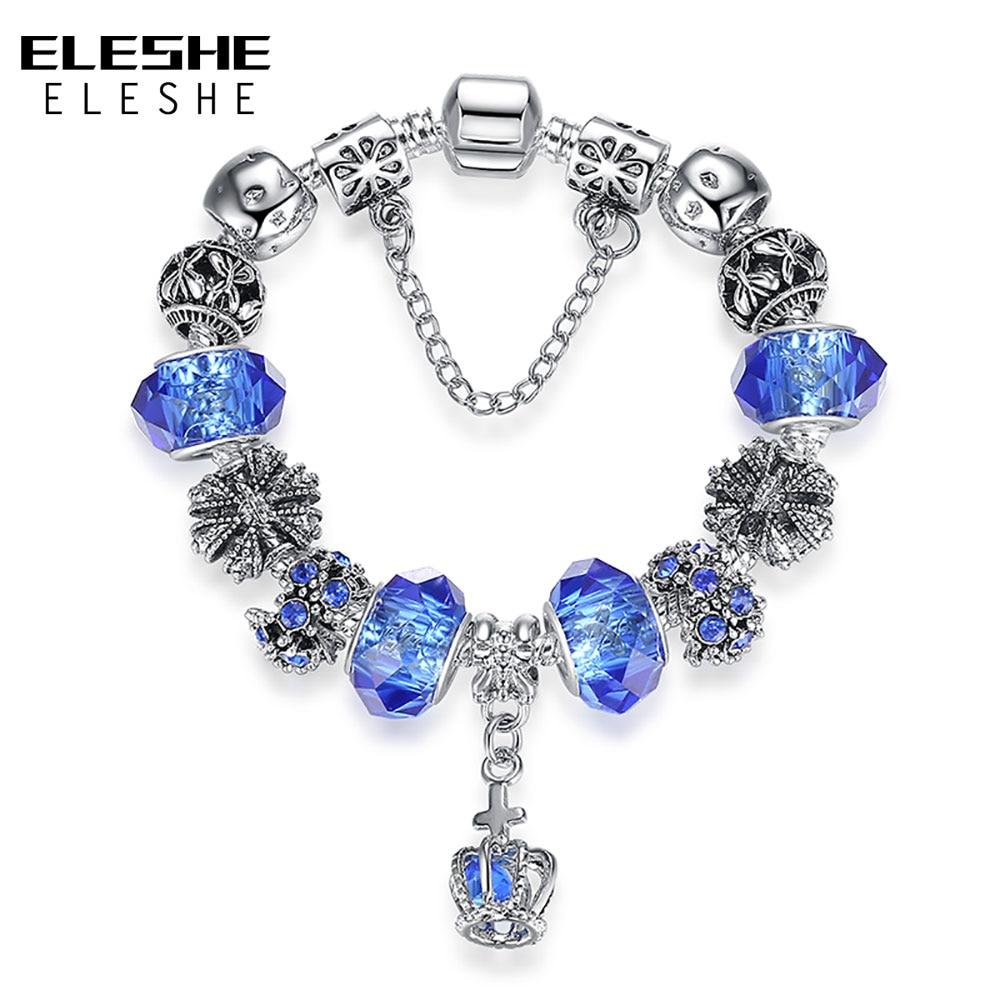 b42c4c04dd40 Eleshe Europea plata color azul cristal pulsera encanto pulsera para las  mujeres pulsera y brazalete DIY hecho a mano amistad joyería original
