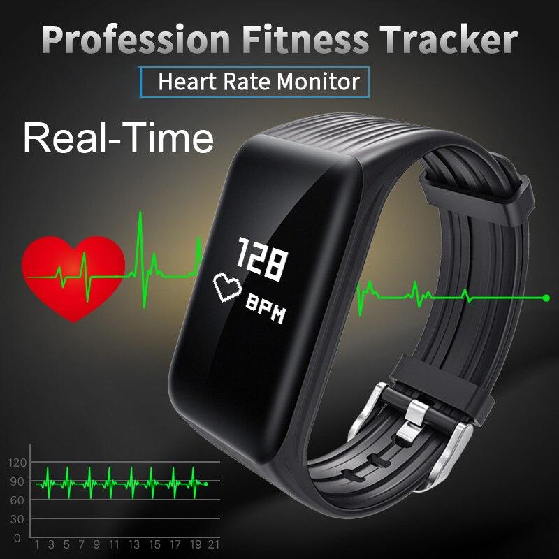 Wearpai in tempo reale FitnessTracker Orologio IP68 Impermeabile Senza Fili Intelligente Braccialetto con Continuo della Frequenza Cardiaca Monitor VS FITBIT