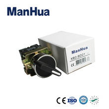 ManHua 10A Control Switch XB2-BD21With Circular Head Push Button Switch 1 NO Maintained Select Selector Switch xb2 bg21 two position maintained selector rotary self locking with key push button switch 10a 1no 22mm