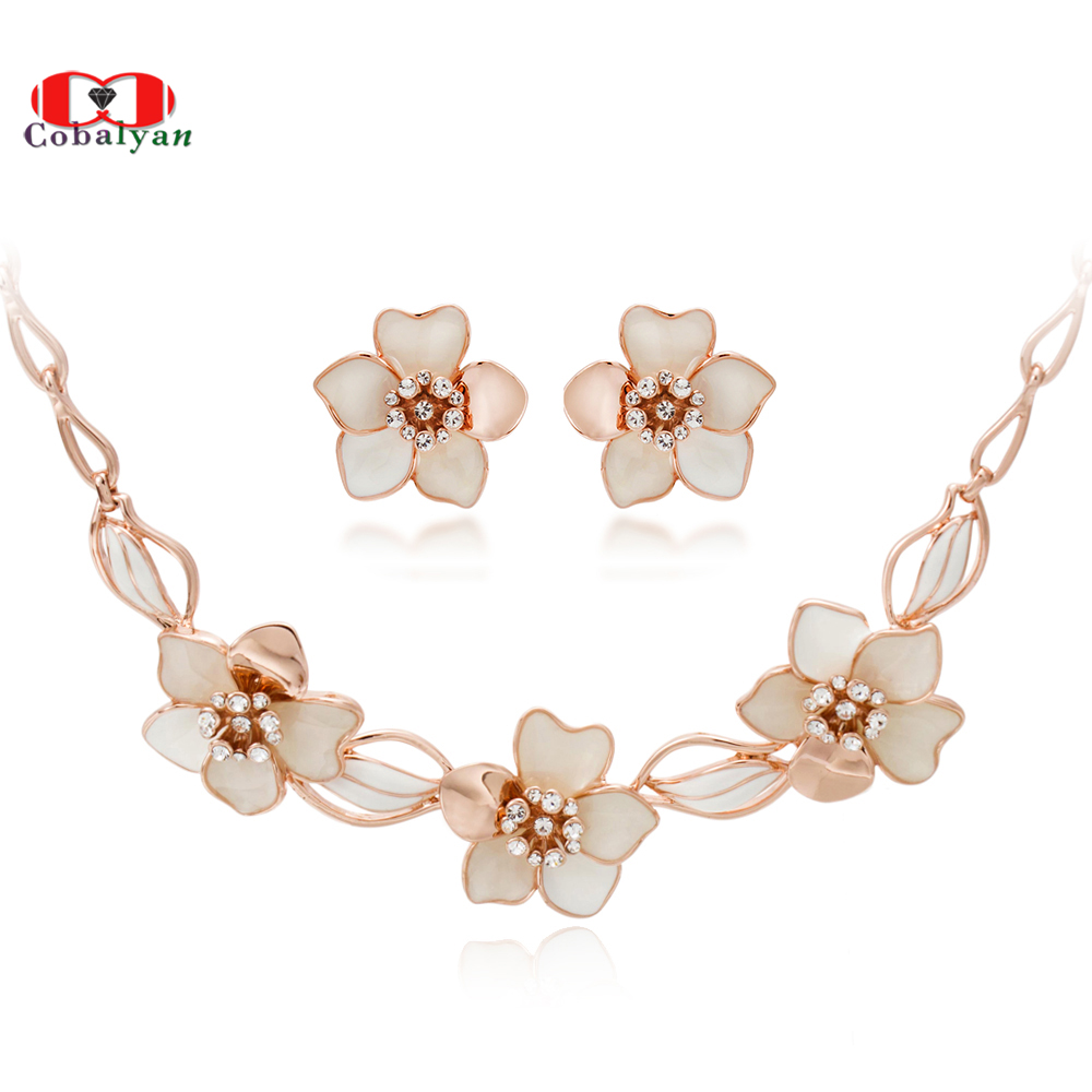 e532a0d155 Top Quality Rose Gold Color Austrian Rhinestone Shell camellia Flowers  Necklace and Earrings Jewelry sets