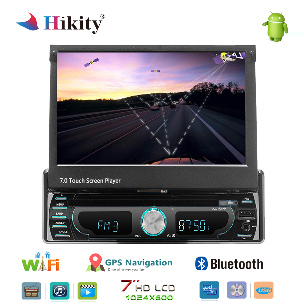 Hikity Car DVD Player Stereo Radio 1 din 7 Android GPS FM Receiver USB SD Bluetooth In Dash Car Radio Multimedia Player