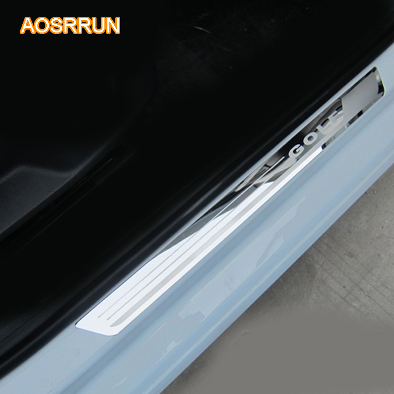 AOSRRUN Stainless steel Door sill scuff plate car accessories For VW Volkswagen Golf 7 MK7 2013 2014 2015 2016 4PCS 1SET car 2x custom cool led moving door scuff for volkswagen vw golf 7 from 2014 2015