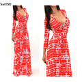 2016 Women Celeb Sexy Club Boho Long Maxi Dresses Ladies vestidos Autumn Beach Party Sun Casual Sexy V-neck long dress 912 DX