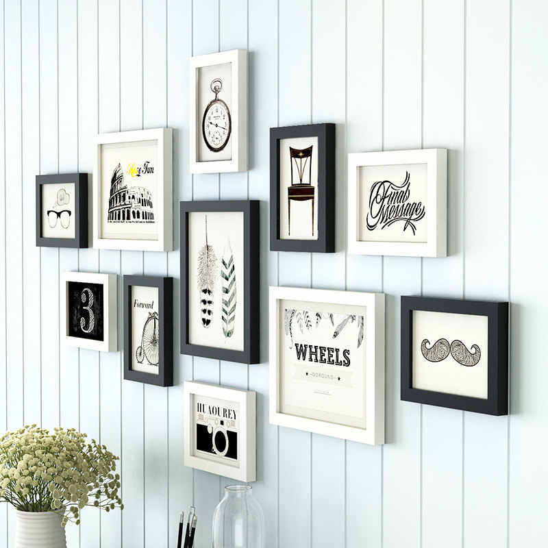 European Style 11 pcs/set Photo Frame White Black,Creative Multi Photo Frames Wall,Collage Picture Frame Wooden Frame for Photos