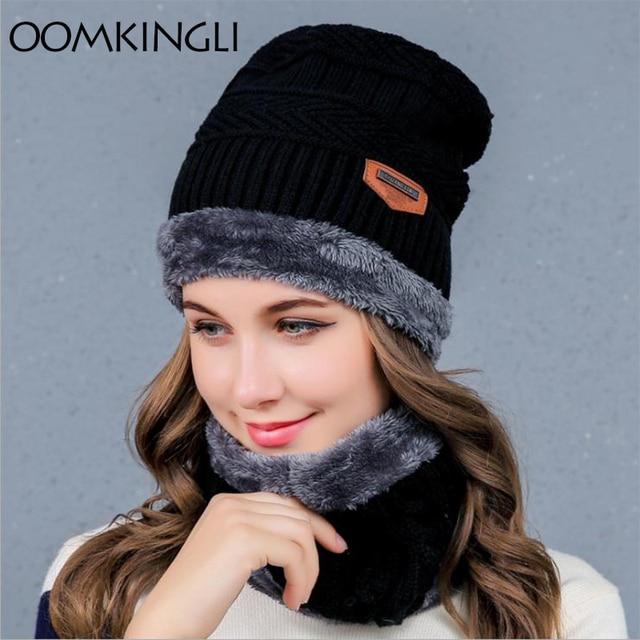 2017 New Knitted Winter Hat Scarf Beanies Knit Men s Winter Hats Caps  Skullies Bonnet For Men Women Beanie Casual Neck Warmer a3cc5bb21cf