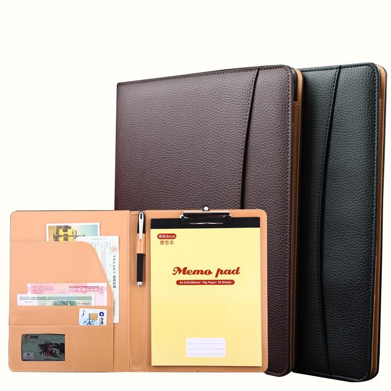 A4 Executive Meeting Folder Portfolio PU Leather Document Organizer With Calculator And Board Clip